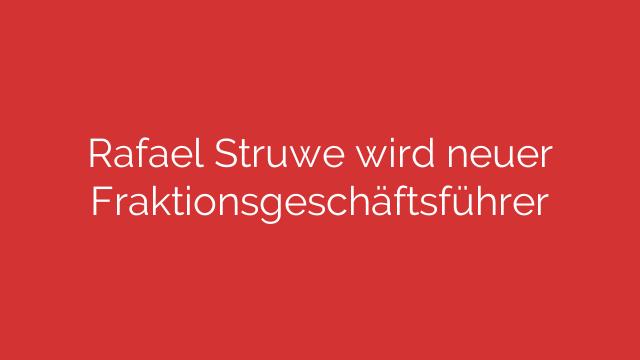 Rafael Struwe wird neuer Fraktionsgeschäftsführer