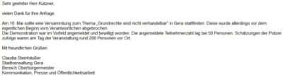 Screenshot Antwort Stadt Gera