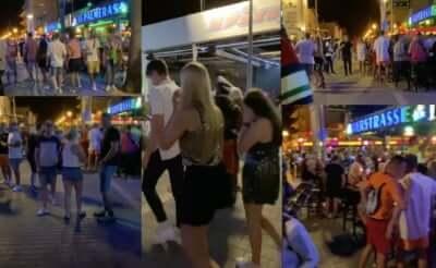 Menschen auf der Bierstraße Mallorca