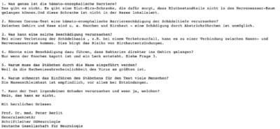 Die E-Mail von Neurologe Peter Berlit an CORRECTIV (Screenshot: CORRECTIV)