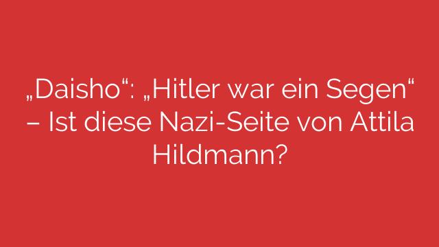 """""""Daisho"""": """"Hitler war ein Segen"""" – Ist diese Nazi-Seite von Attila Hildmann?"""