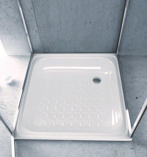 Aqualine plaatstaal douchevloer staal 80 x 80 x 16cm, white