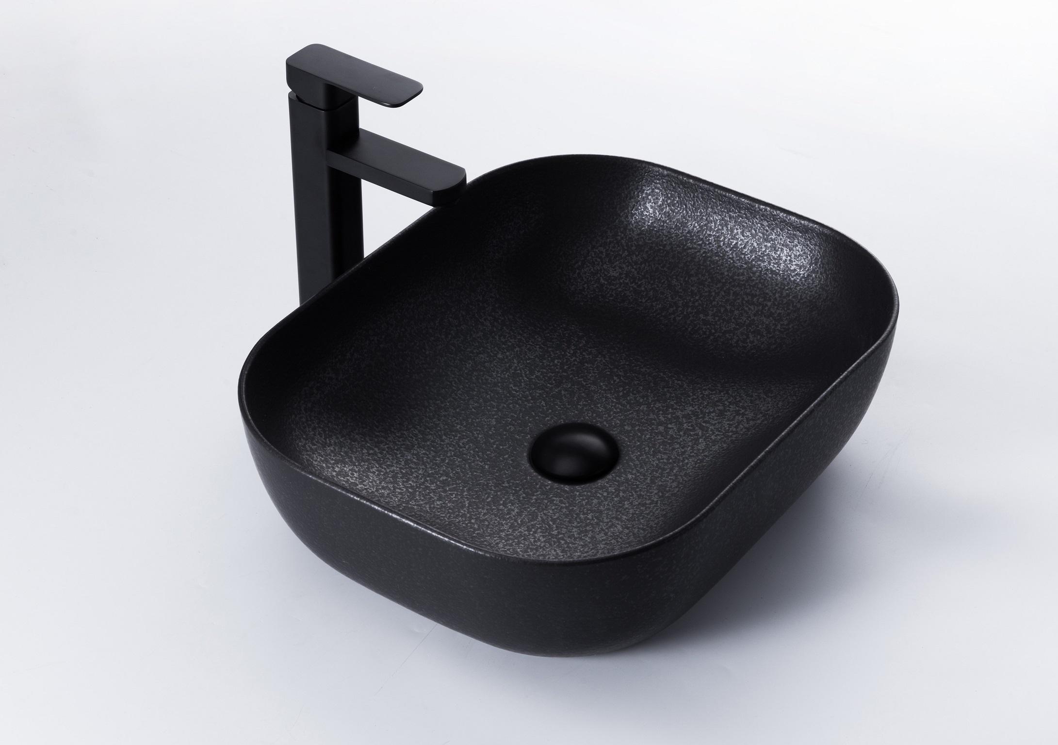 B-Stone Casteo zwarte waskom vierkant 38x38cm getrommeld