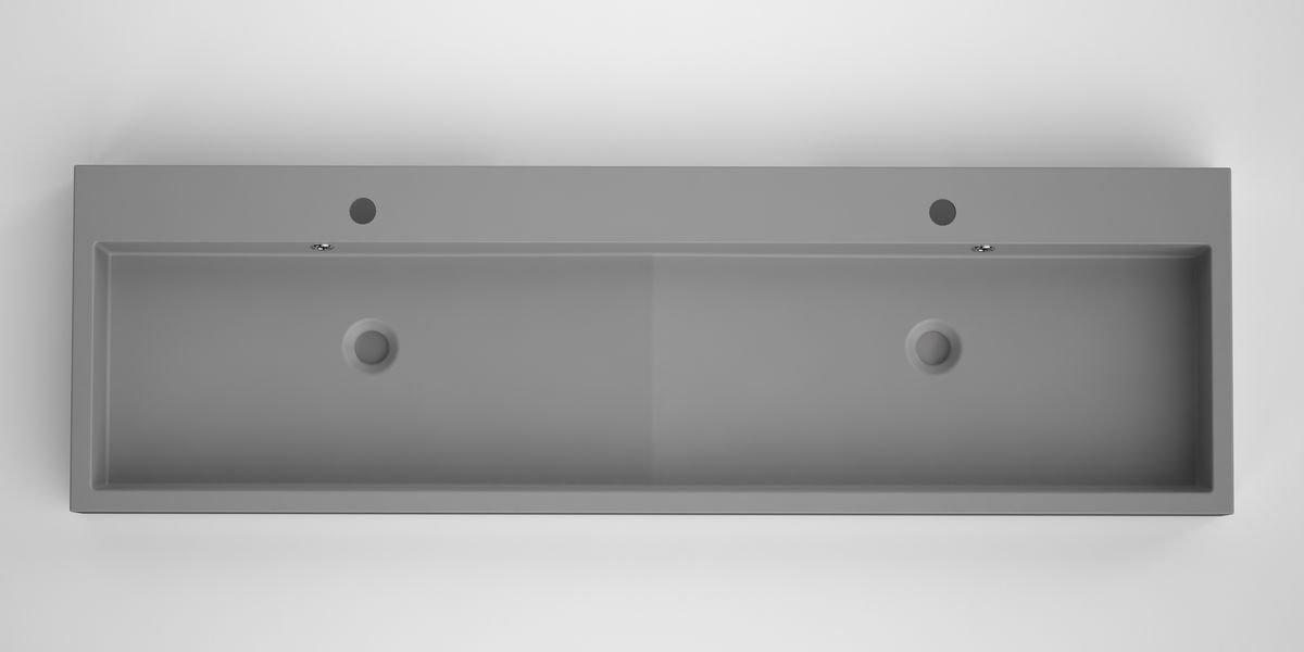 Bruynzeel Box dubbele opbouwwastafel composiet 150 x 45 cm, grijs
