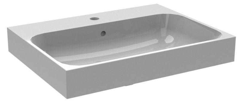 Bruynzeel Pinto composiet wastafel met 1 kraangat 60x46 cm, wit