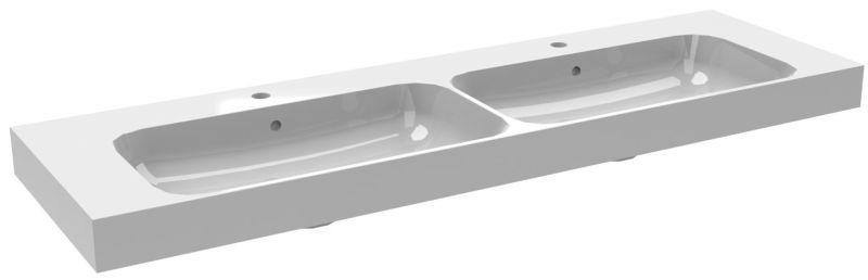 Bruynzeel Pinto dubbele composiet wastafel met 2 kraangaten 150x46 cm, wit