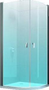 Hüppe Design pure draaideur kwartrond helft 80x200 cm r55, matzilver-helder glas