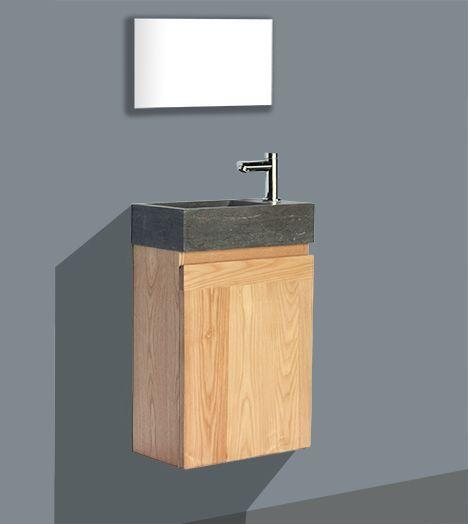 Lambini Designs Wood Stone toiletmeubel eiken met natuursteen links, kraangat rechts