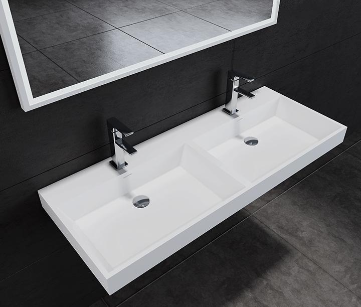 Lambini Designs solid surface dubbele wastafel zonder kraangaten 120x47x8cm mat wit