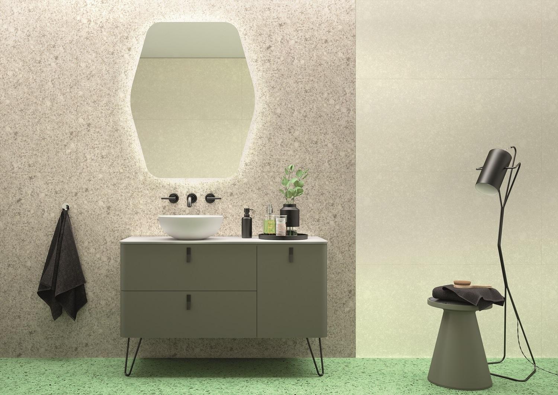 Muebles Unique badmeubel 120cm rechts bosque groen met zwarte grepen