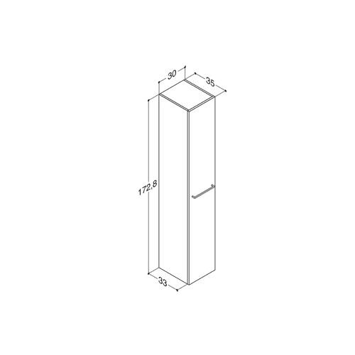 Plieger Qubic hoge kast m 1 deur 172,8x30x35 cm links/rechts structuurgrijs