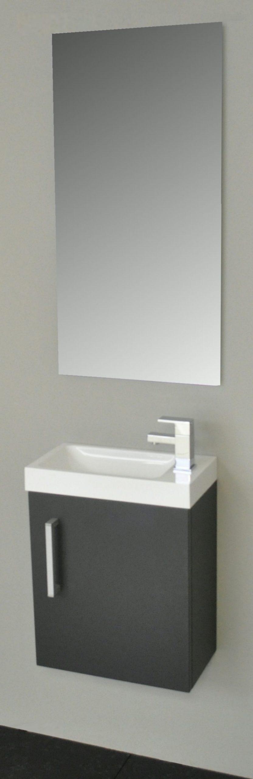 Sanicare toiletmeubel Q40 antraciet 40 cm. met spiegel