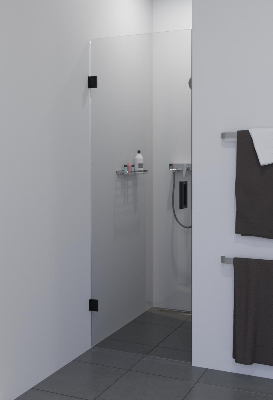 Saniclear Modern profielloze douchedeur 70x200 met zwarte scharnieren