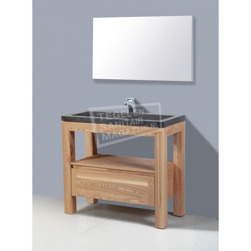 Sanilux Robusta Stone 100 cm Badmeubel Eiken met 1 lade Greeploos Softclose zonder kraangaten met Spiegel