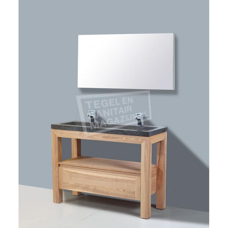 Sanilux Robusta Stone 120 cm Badmeubel Eiken met 1 lade Greeploos Softclose zonder kraangaten met Spiegel