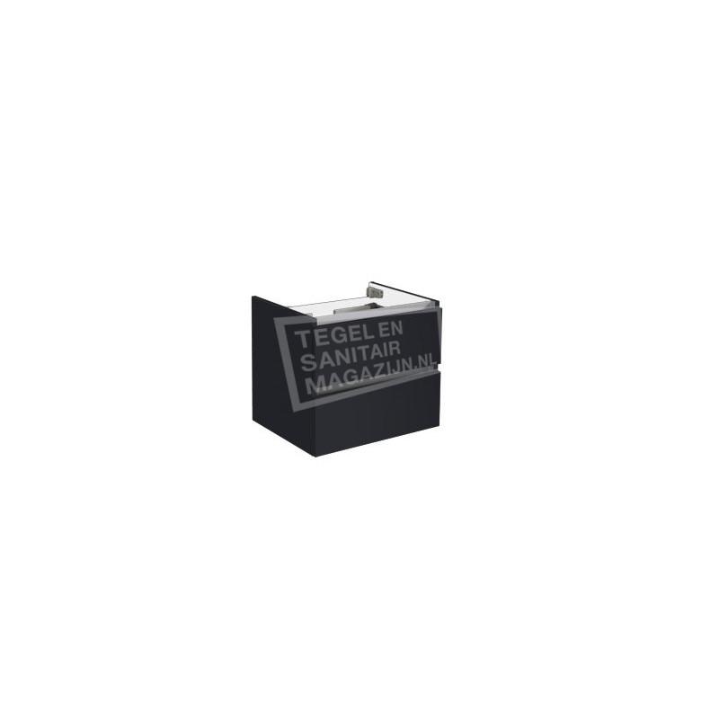 Sanilux trendline 60 x 47 cm Losse Onderkast met 2 Laden hoogglans antraciet