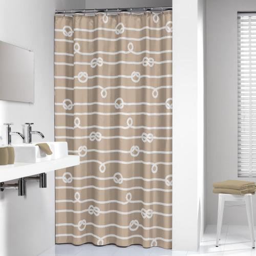 Sealskin douchegordijn Rope 100% polyester zand print 180x200 cm