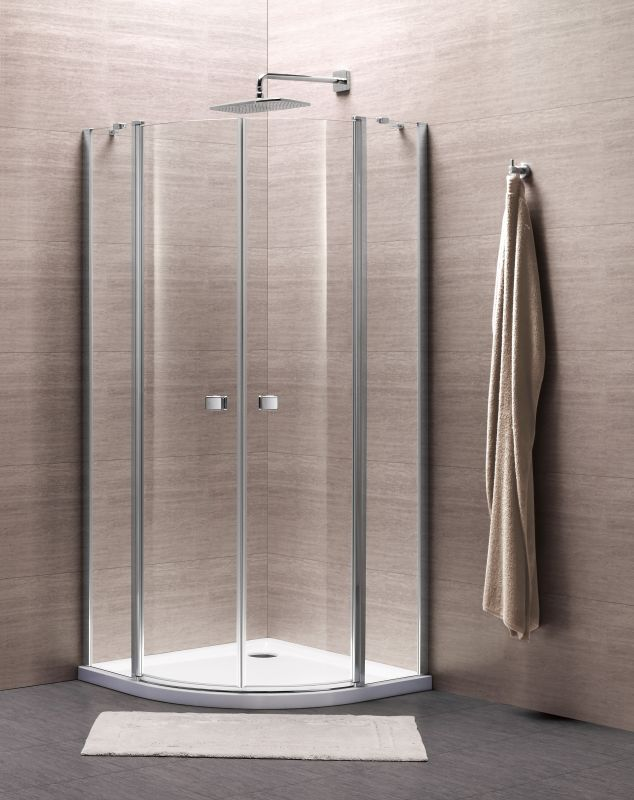 Sub 065 kwartrond douchecabine 90x90x195 cm, chroom helder glas