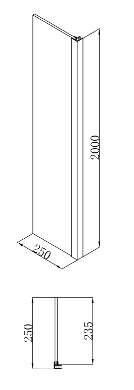 Sub 066 hoekdeel 25x200 cm., chroom-helder
