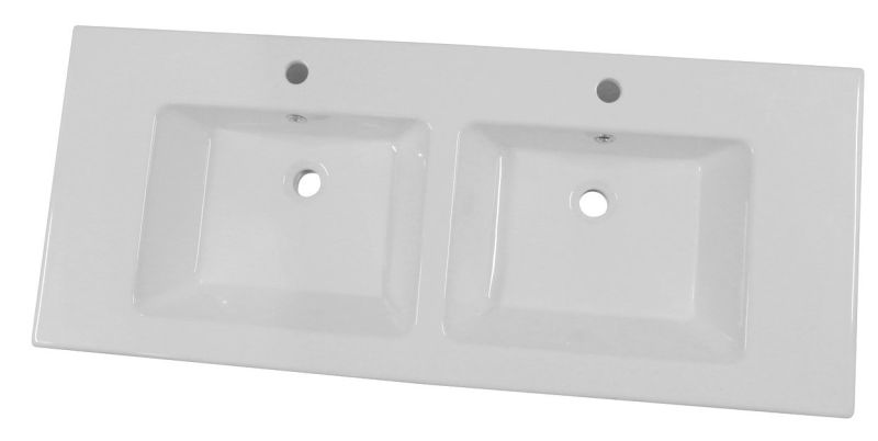 Sub 113 meubelwastafel 121 51 cm 2x kr.gat met overloop, wit
