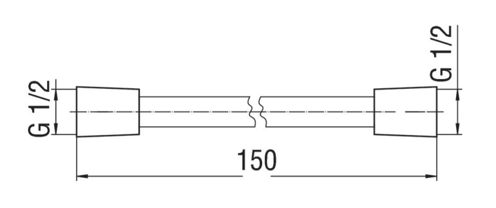 Sub 201 doucheslang 150 cm., mat zwart