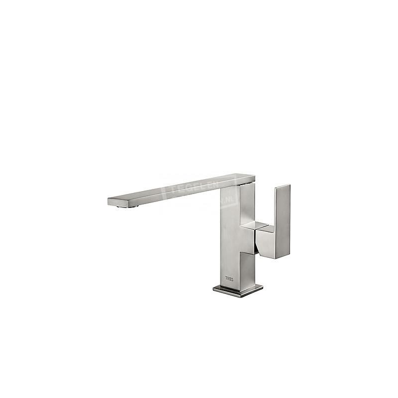 TRES Cuadro Exclusive wastafelkraan geborsteld staal 00620501ACD