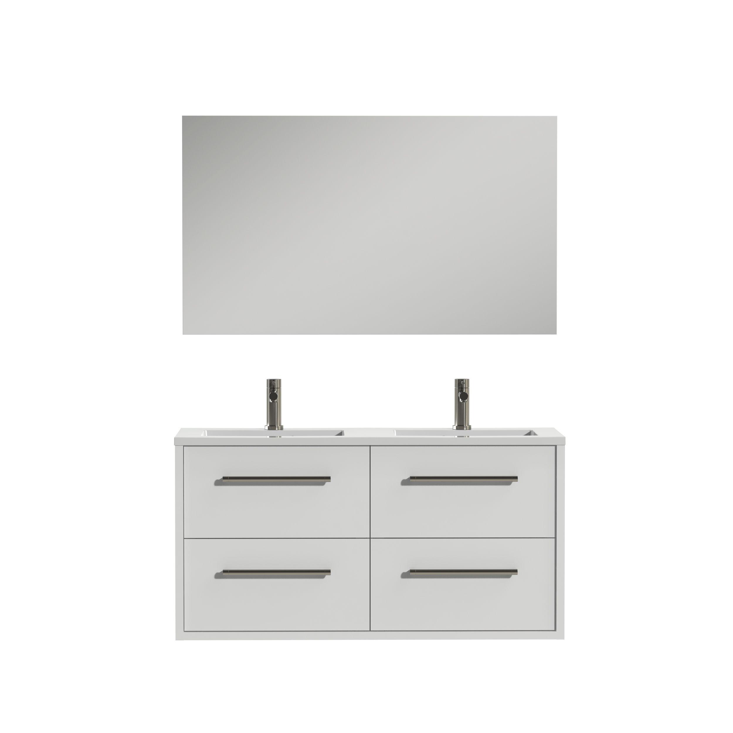 Tiger Boston badmeubelset incl spiegel en witte wastafel 120cm wit