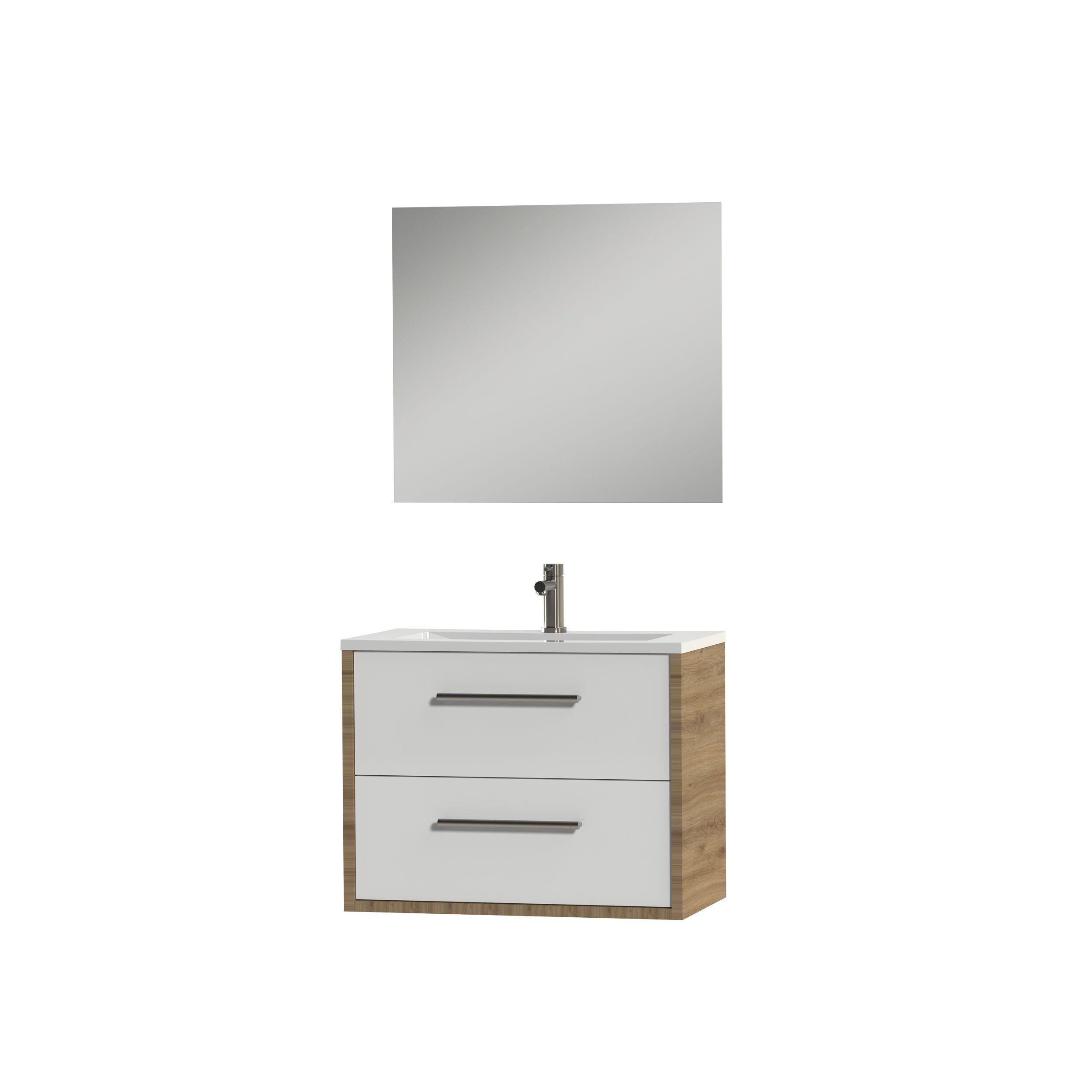 Tiger Boston badmeubelset incl spiegel en witte wastafel 80cm chalet eiken