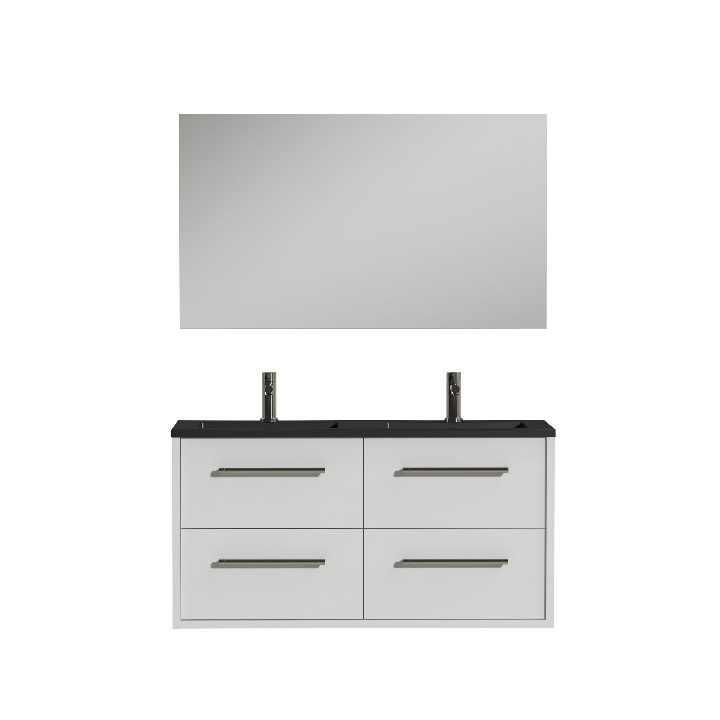 Tiger Boston badmeubelset incl spiegel en zwarte wastafel 120cm wit