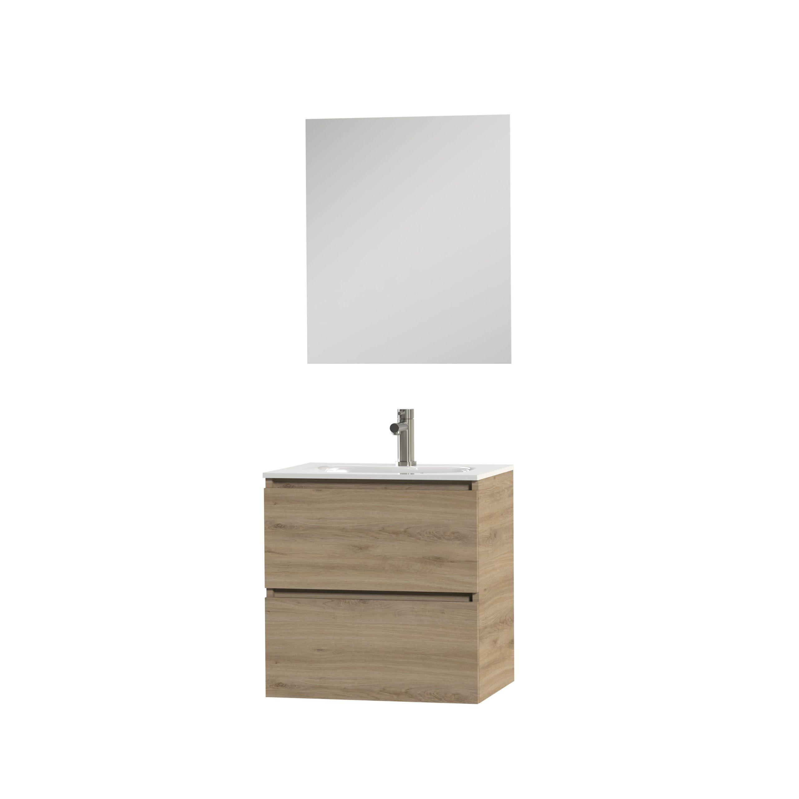 Tiger Loft badmeubel met spiegel en witte wastafel 60cm chalet eiken