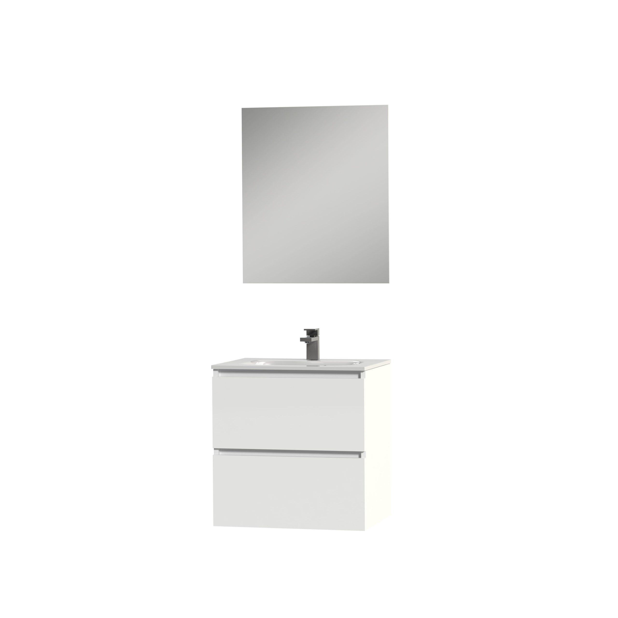 Tiger Loft badmeubel met spiegel en witte wastafel 60cm hoogglans wit