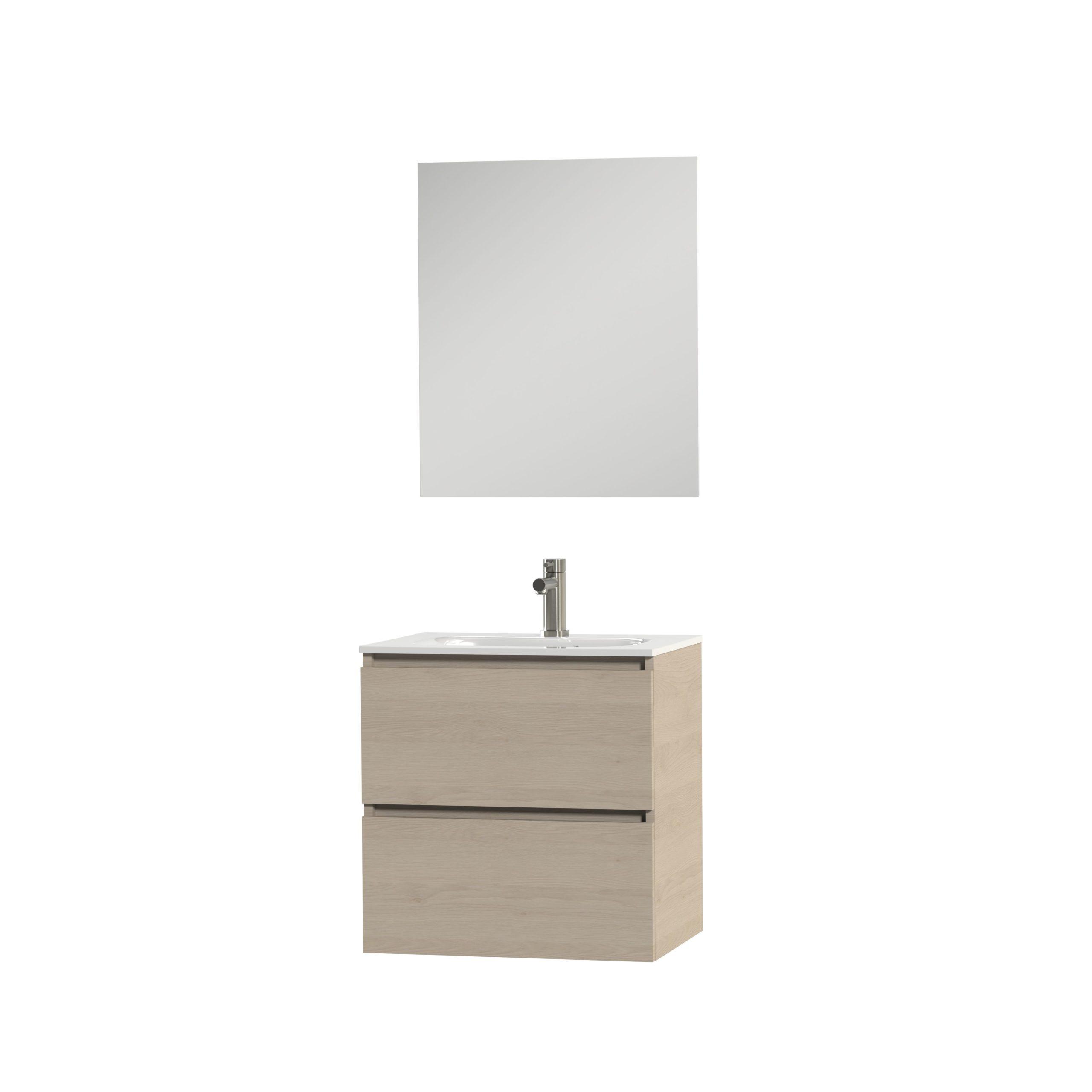 Tiger Loft badmeubel met spiegel en witte wastafel 60cm naturel eiken