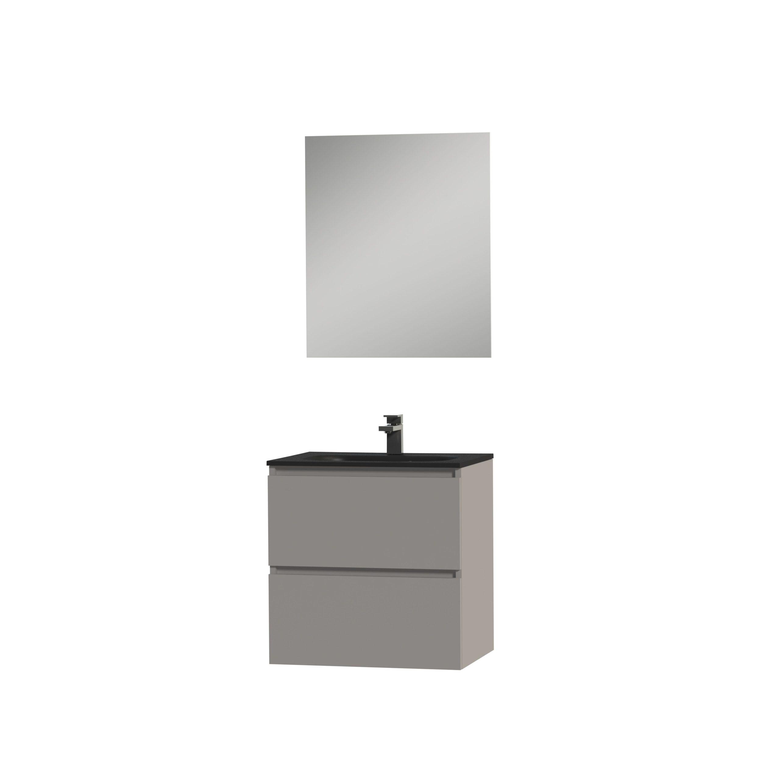 Tiger Loft badmeubel met spiegel en zwarte wastafel 60cm mat grijs