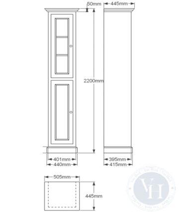Van Heck Traditional kast rechts 220x44x41 cm, wit