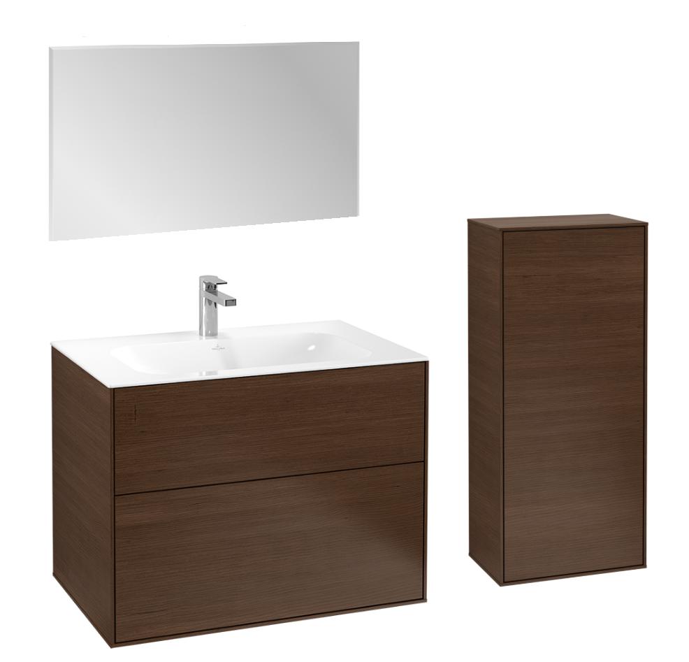 Villeroy & Boch Finion badmeubelset 1 - 80 cm wastafelonderkast, wastafel, zijkast en spiegel