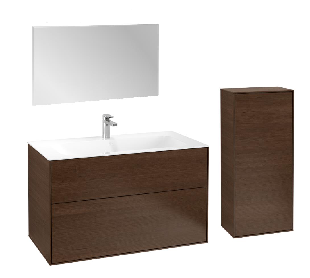 Villeroy & Boch Finion badmeubelset 2 - 100 cm wastafelonderkast, wastafel, zijkast en spiegel