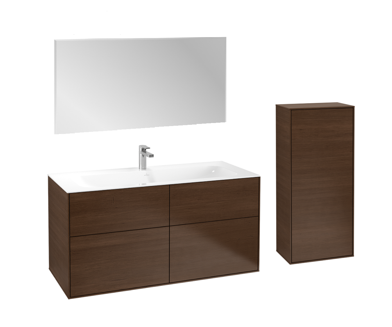Villeroy & Boch Finion badmeubelset 3 - 120 cm wastafelonderkast, wastafel, zijkast en spiegel