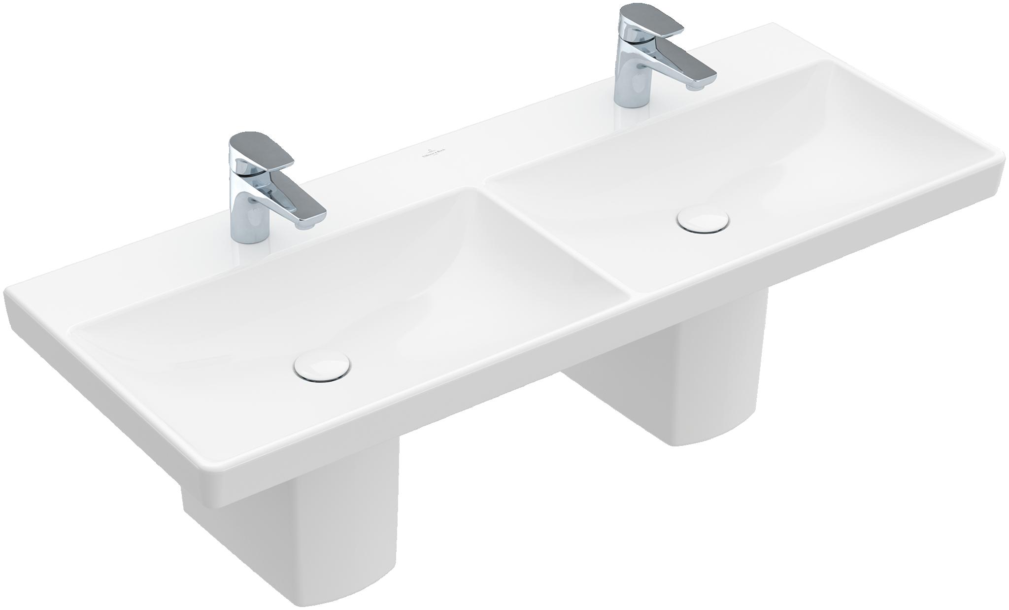Villeroy & boch Avento dubbele meubelwastafel 120x47 cm met 2 kraangaten zonder overloop, wit