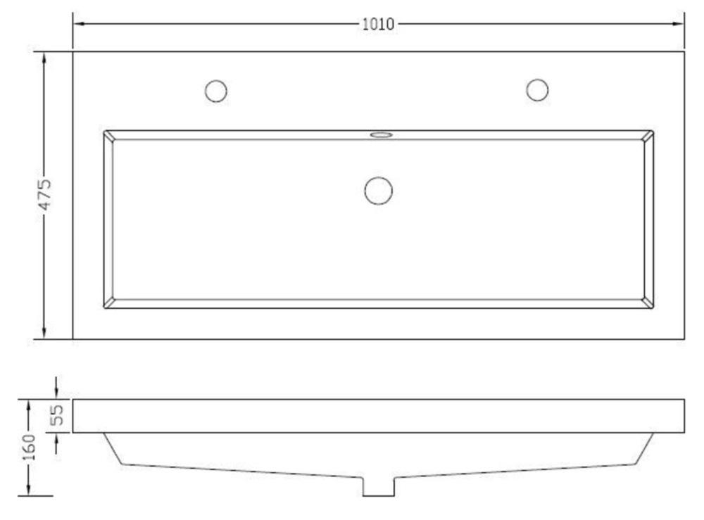 Wiesbaden Vision kunstmarmer wastafel met 2 kraangaten en overloop 100x46x5,5 cm, wit