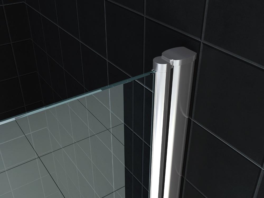 Wiesbaden dubbele pendeldeur in nis 90x200x0,6 cm NANO glas, chroom
