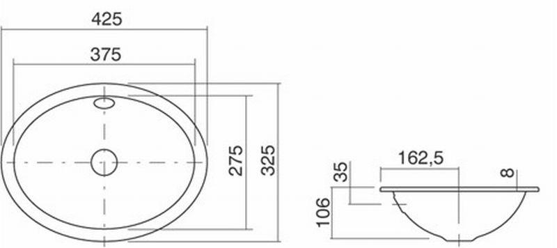 Alape EB inbouwwastafel 42,5x32,5 cm, wit