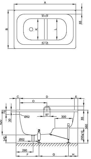 Bette voetzitbad 105x65x42 cm, wit