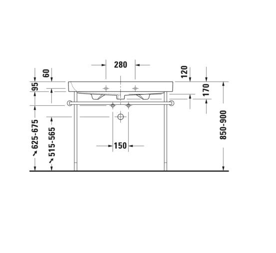 Duravit Happy D.2 meubelwastafel 100x50,5 cm zonder kraangat met overloop, wit