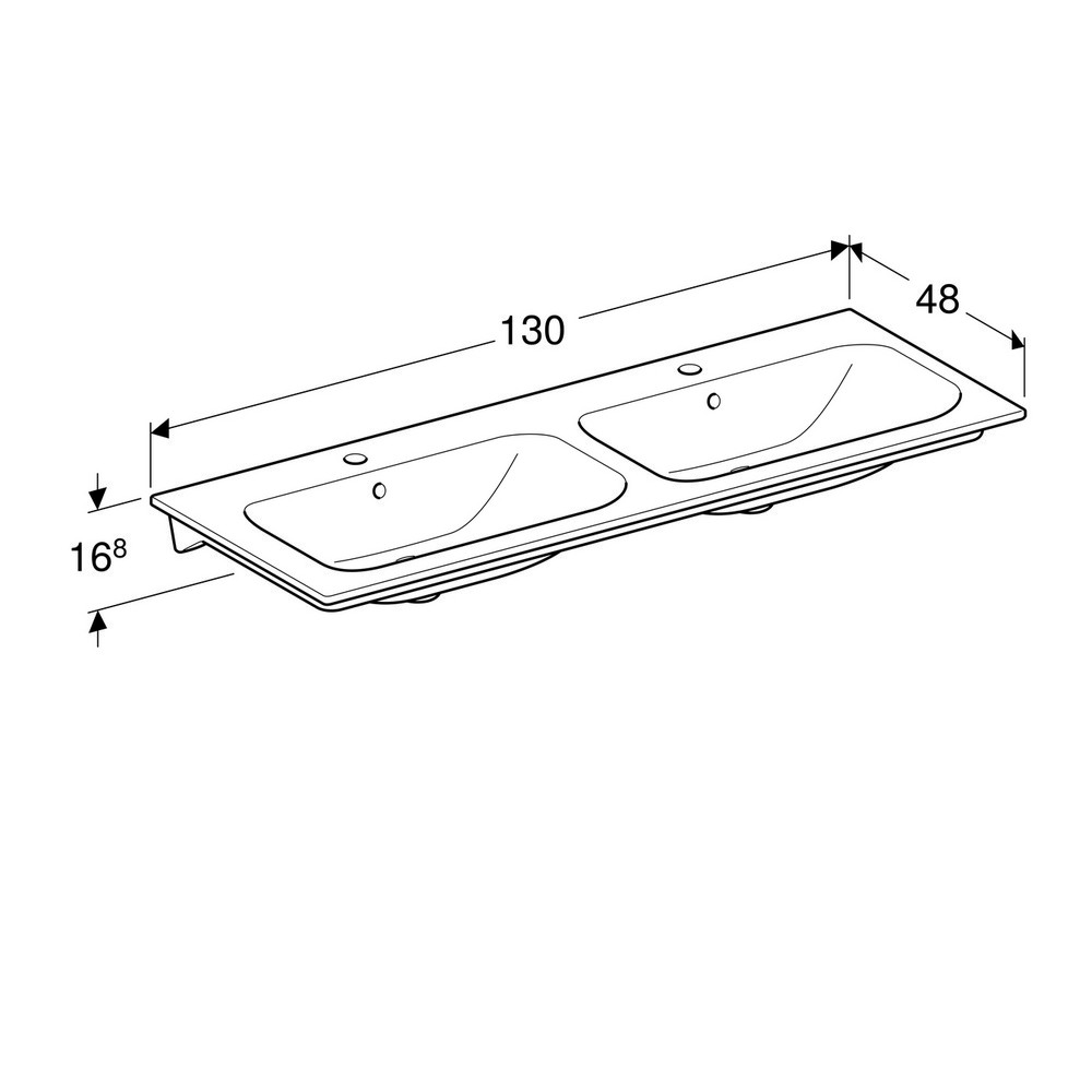 Geberit Renova Plan meubelwastafel 130 cm 2 kraangaten met overloop KeraTect, wit