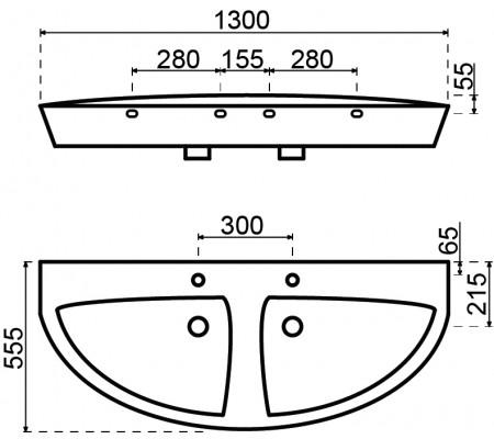Sub 180 vrijhangende dubbele wastafel 130x54x14,5 cm, wit