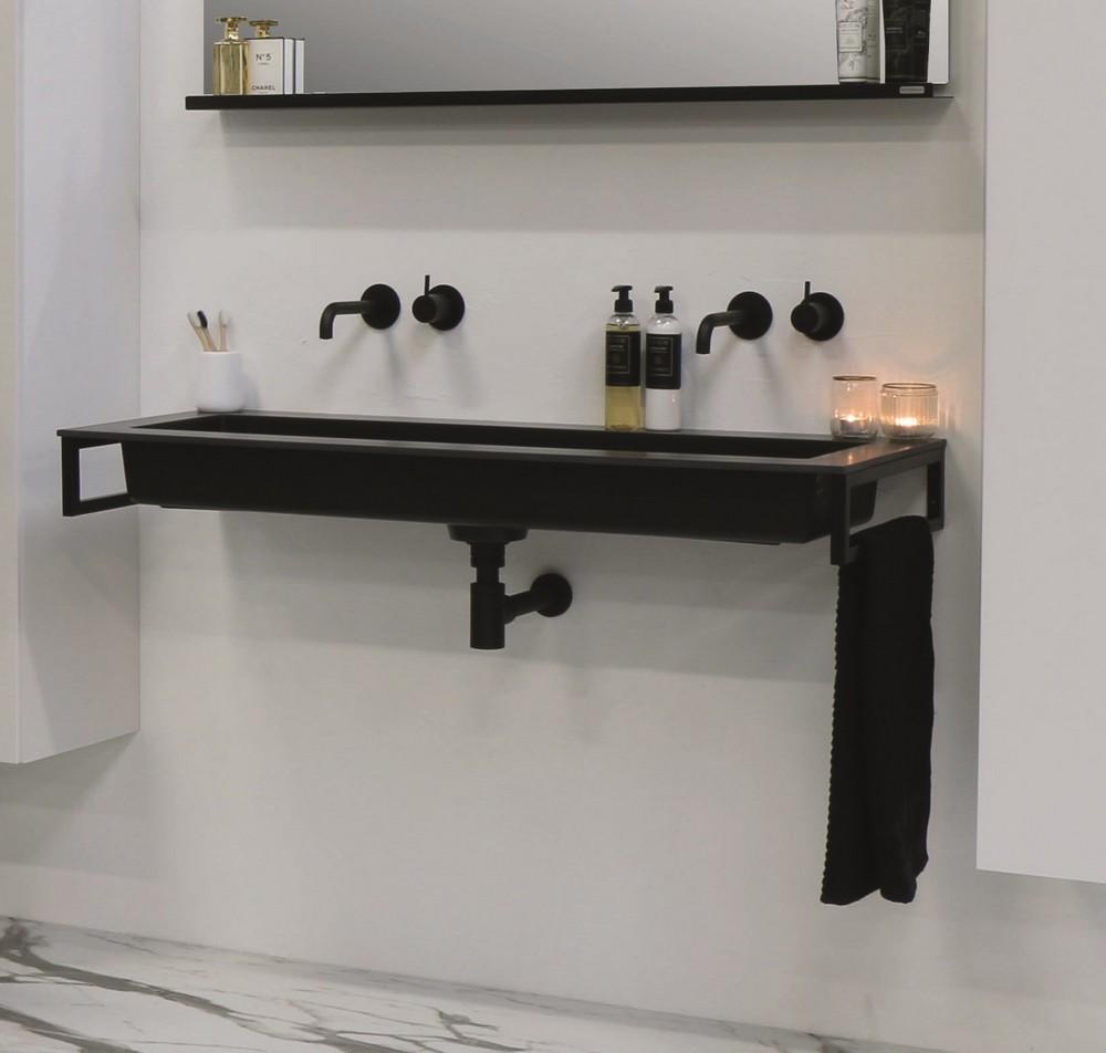 Riverdale Holmes quartz wastafel met 2 kraangaten inclusief plug 120x45 cm, zwart