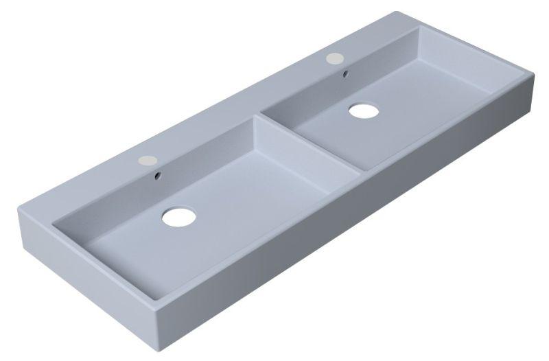 Sub 110 dubbele meubelwastafel met 2 kraangaten en overloop 120x45 cm, wit