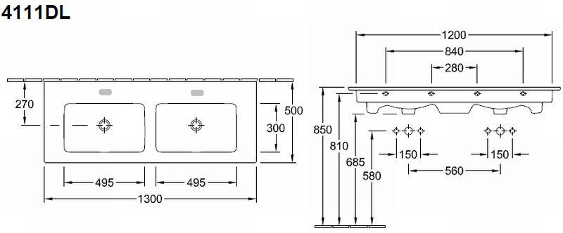Villeroy & Boch Venticello dubbele meubelwastafel rechthoek 130x50 cm met 2 kraangaten en overloop, wit alpin