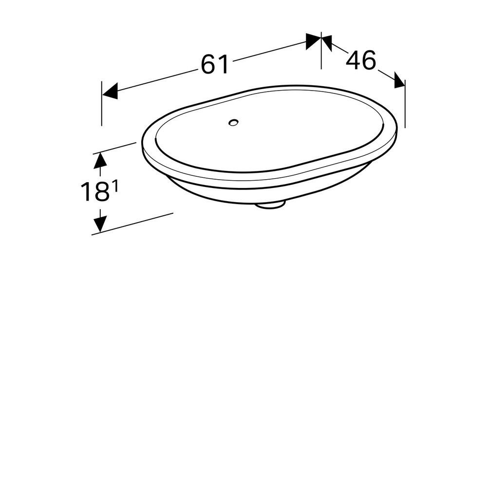 Geberit VariForm onderbouwwastafel ellips 55 cm met overloop KeraTect, wit