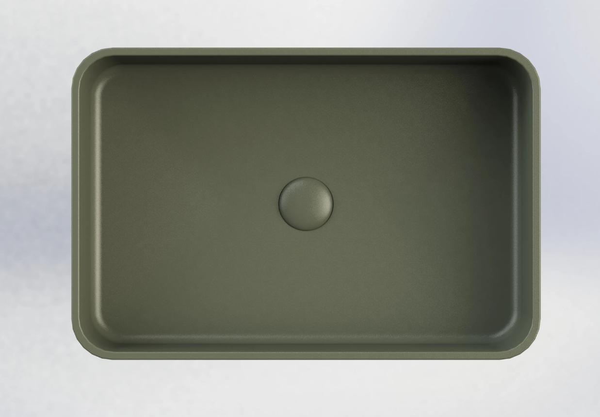 Sub 162 rechthoekige opzetwastafel 56,5 x 37,5 x 13 cm, mat groen